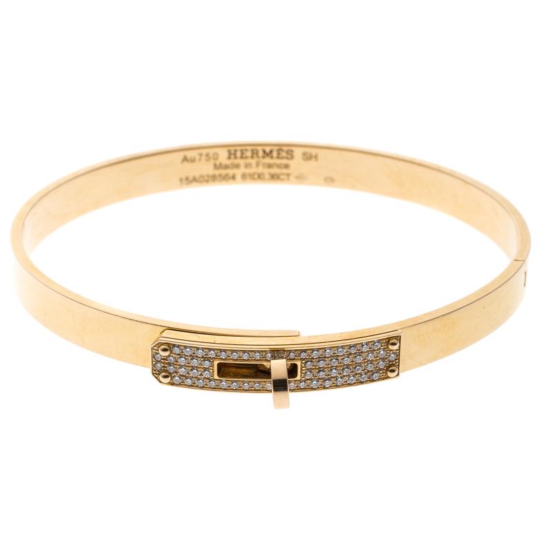 Купить со скидкой Hermes Kelly Small Model Diamond Yellow Gold Bangle Bracelet SH