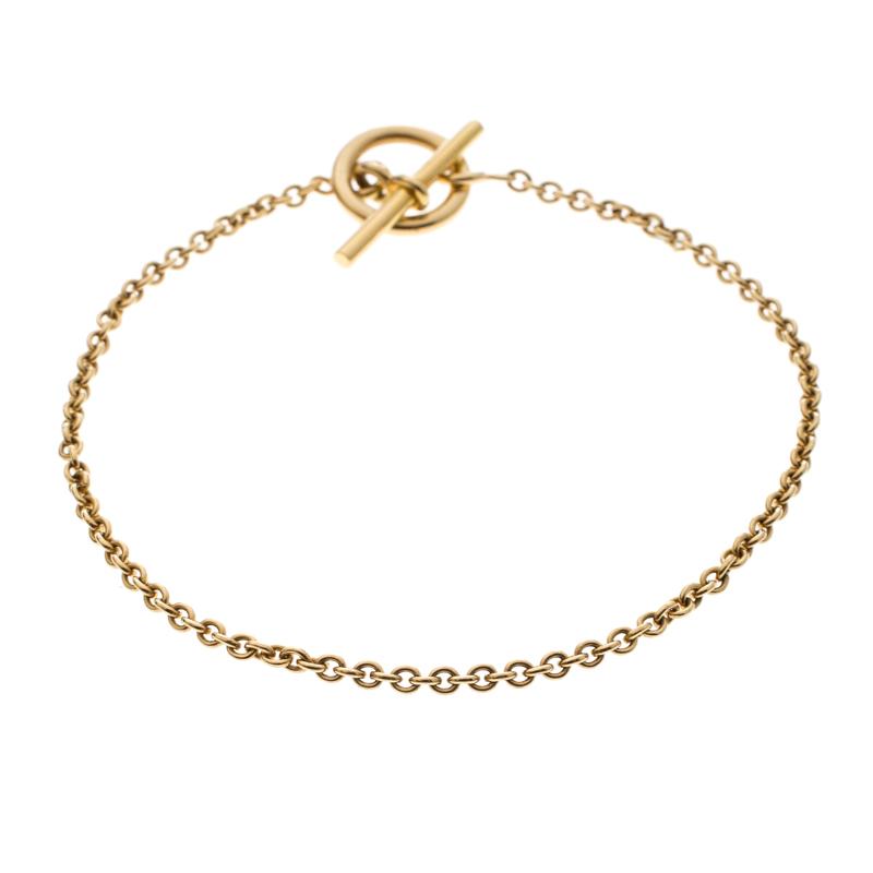 5460d4f04f996e ... Hermes Chaine d'Ancre Mini 18k Yellow Gold Toggle Bracelet. nextprev.  prevnext