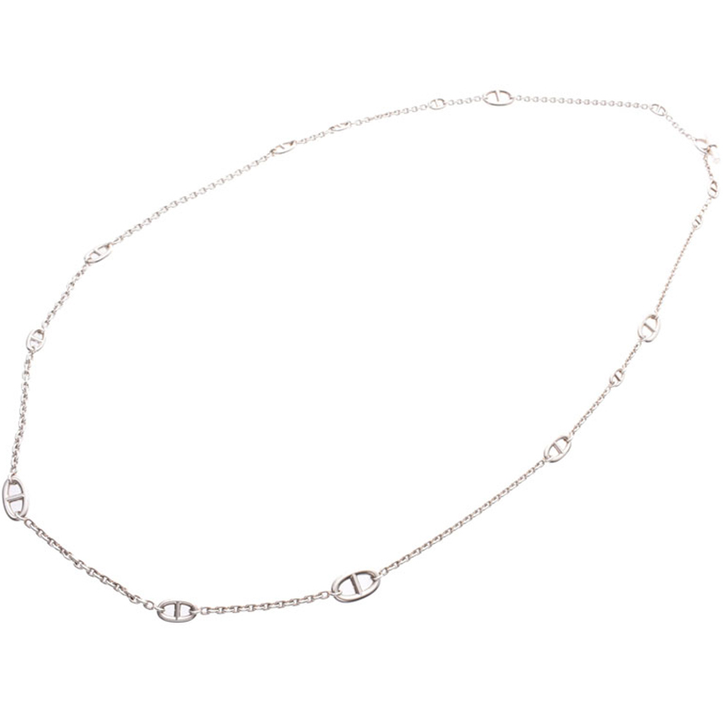 Hermes Silver Hermes Shane Dunkle Long Necklace