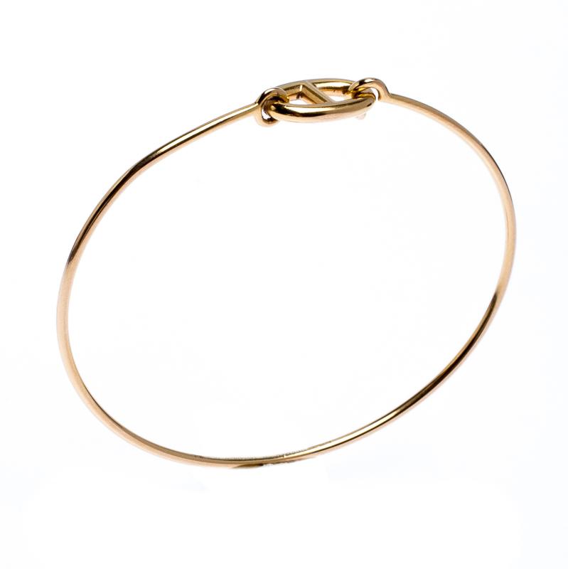 Купить со скидкой Hermes Chain d'Ancre Ronde 18k Yellow Gold Hook Bracelet SH