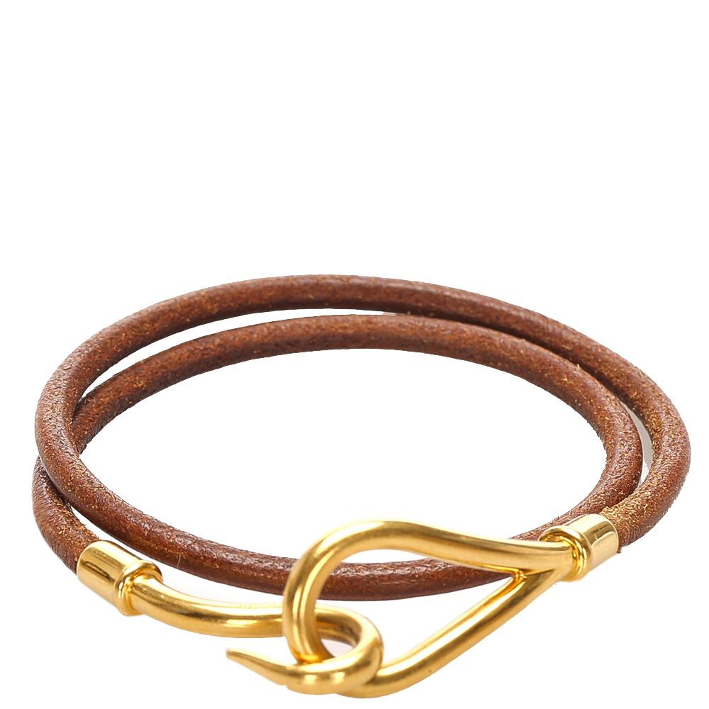 Hermes Gold Leather Jumbo Hook Bracelet