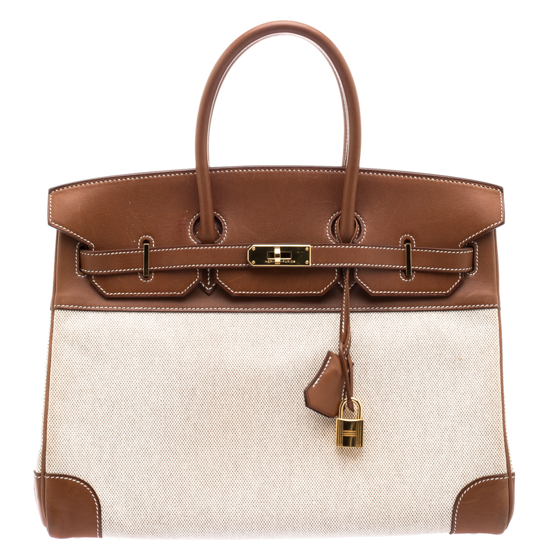 8a9fcfddaf98 Buy Hermes Brown Beige Canvas And Box Calf Leather Gold Hardware ...