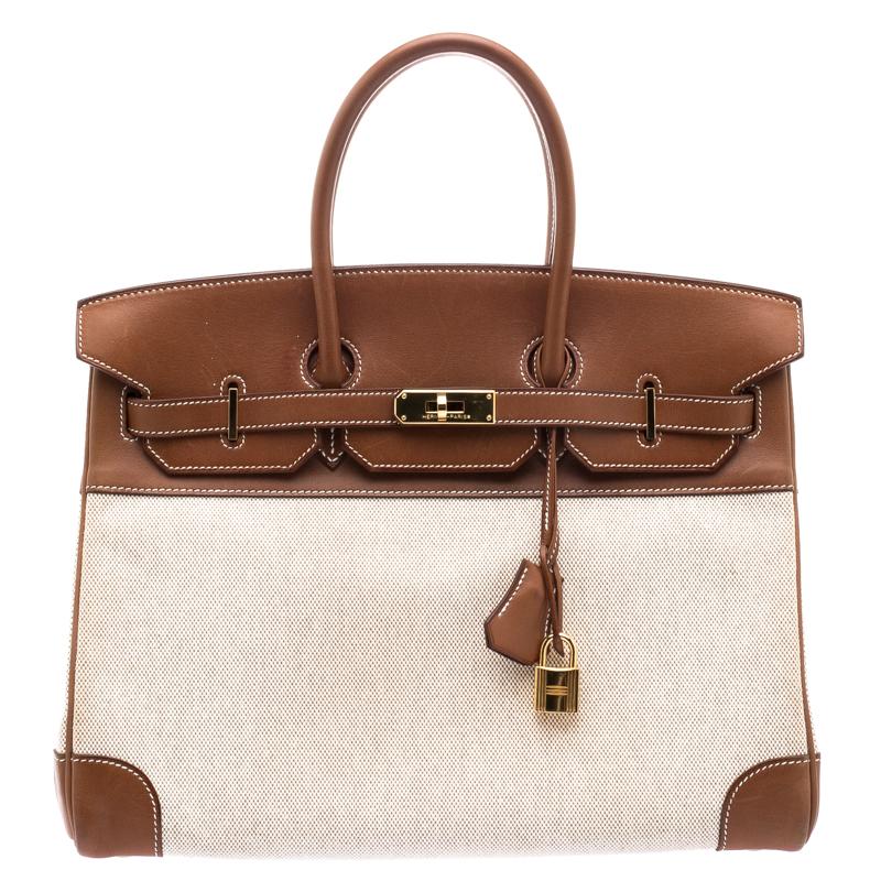 d39b475539 ... Hermes Brown Beige Canvas And Box Calf Leather Gold Hardware Birkin 35  Bag. nextprev. prevnext