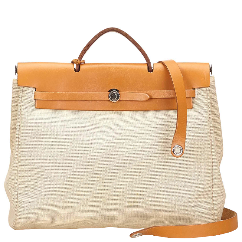 Hermes Tan Canvas/Leather 2-in-1 Herbag MM Bag
