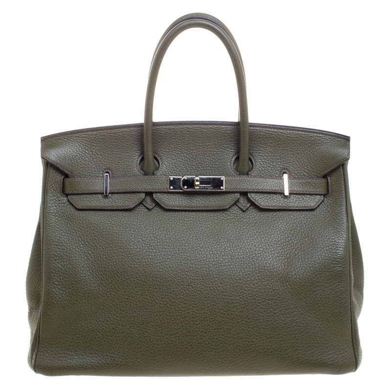 3ea2baaa1618 Buy Hermes Olive Green Togo Leather Palladium Hardware Birkin 35 Bag ...