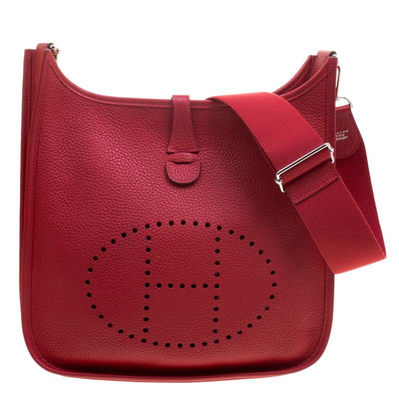 b0284039382f0 إشتري حقيبة هيرمس ايفيلين جلد كليمينس غرينيس حمراء III PM 114807 ...