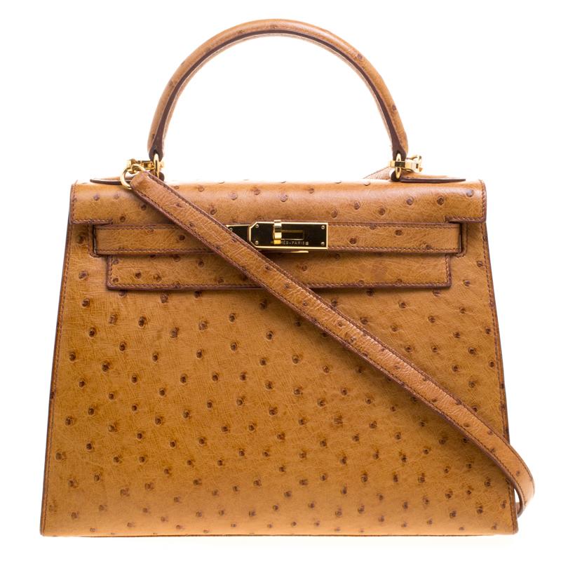 9306a869c إشتري حقيبة هيرمس سيلييه 28 جلد نعام بني كونياك إكسسوار ذهبي 114943 ...