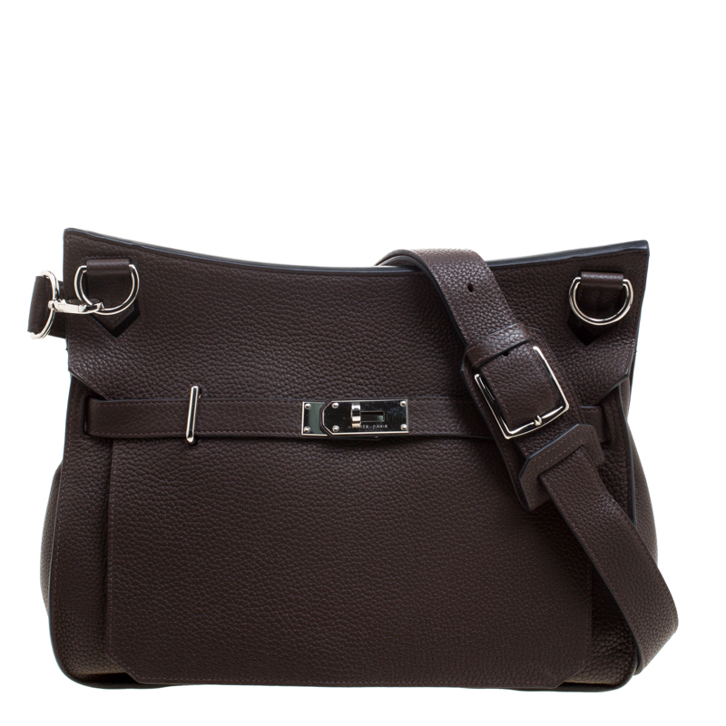 cc2490454552 Buy Hermes Cacao Taurillon Clemence Leather Jypsiere 37 Bag 118755 ...