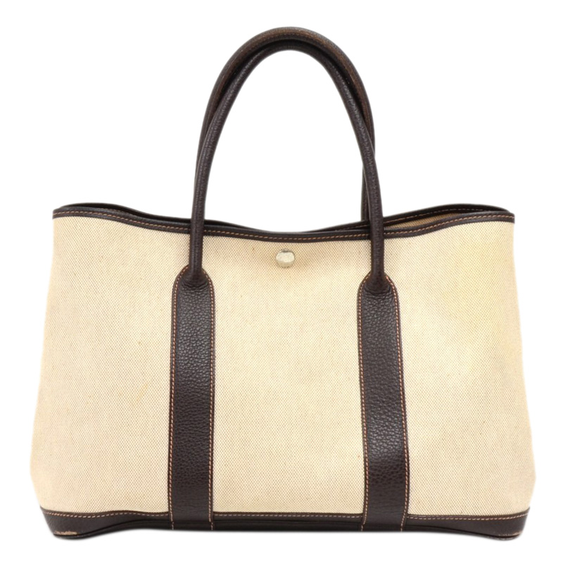 Hermes Bicolor Canvas Leather Garden Party 36 Bag Hermes Tlc