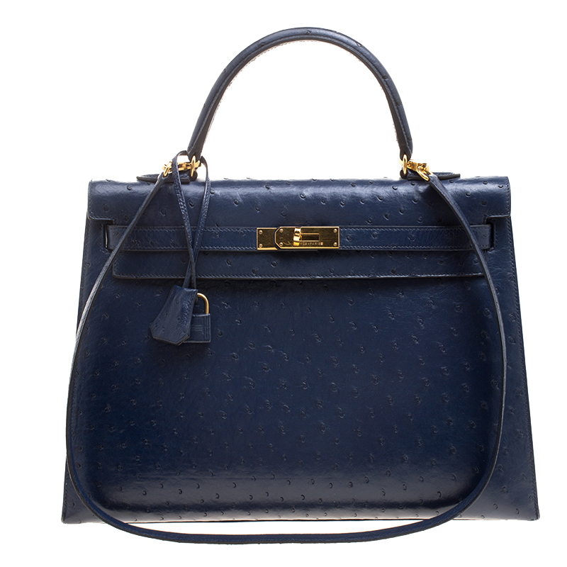 319ef0823b88 ... Hermes Blue De Malte Ostrich Gold Hardware Kelly Sellier 35 Bag.  nextprev. prevnext