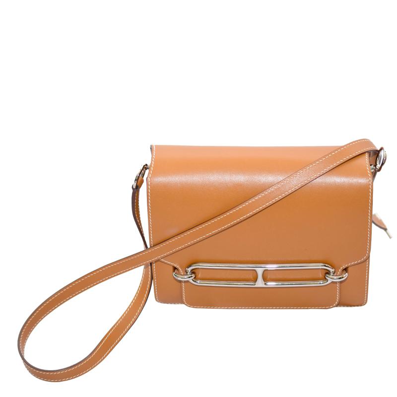 43c1dcc67bc1 Buy Hermes Gold Leather Palladium Hardware Roulis Bag 129513 at best ...
