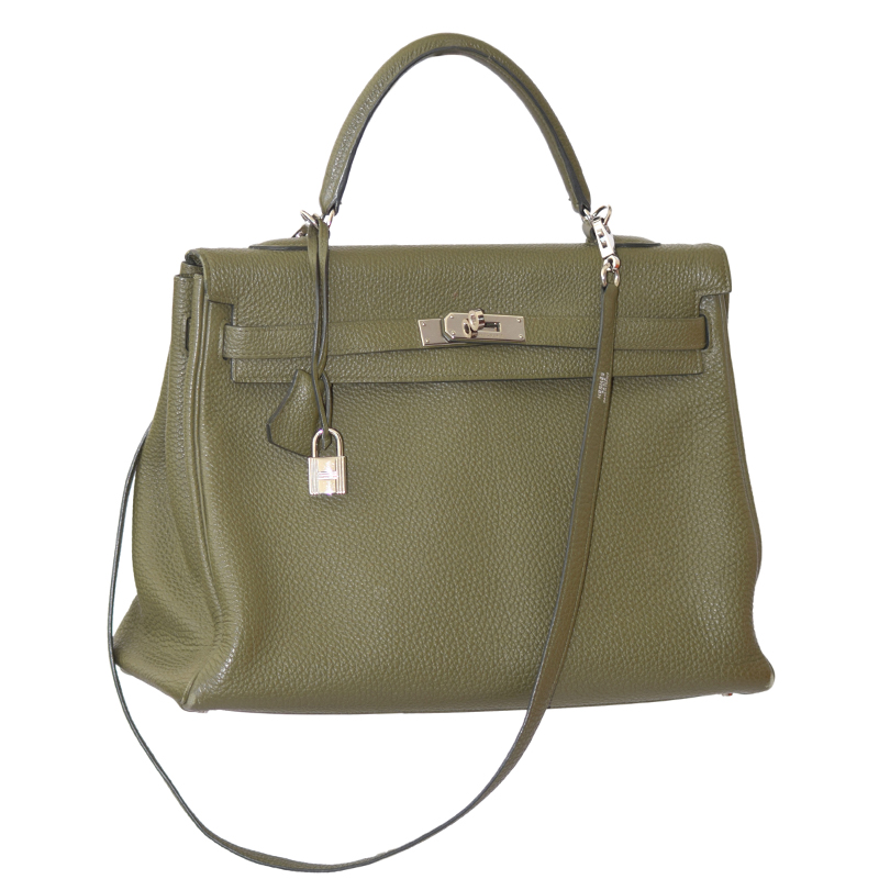 Hermes Vert Veronese Togo Leather Palladium Hardware Kelly Retourne 35 Bag