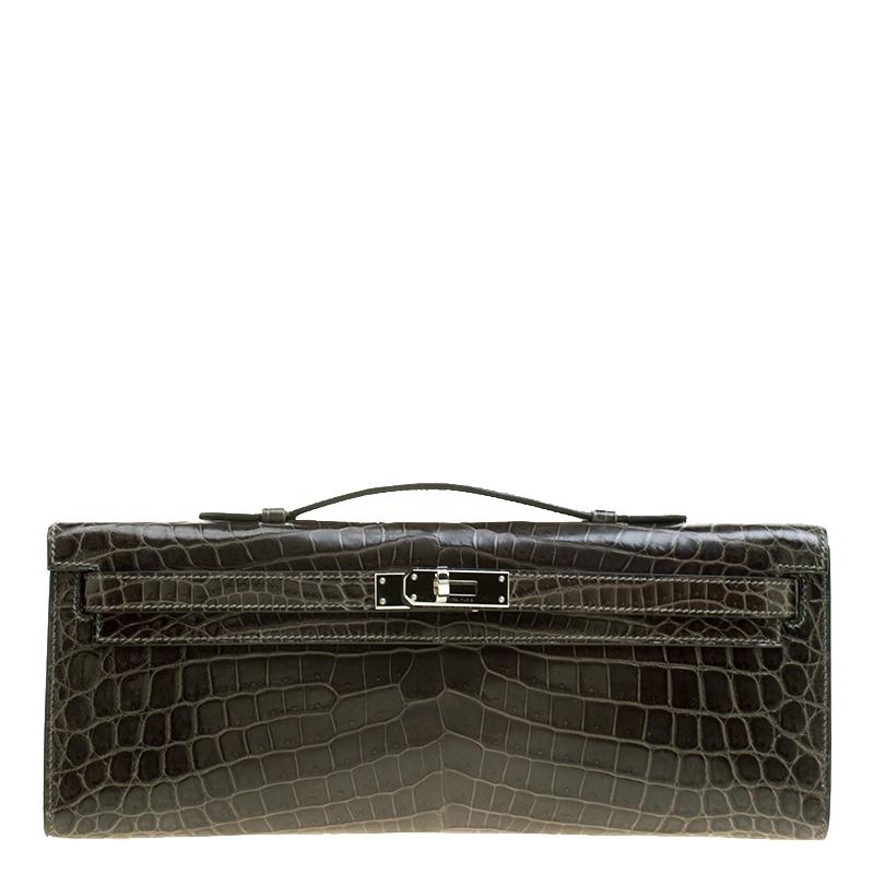 43975e99a3 Buy Hermes Olive Green Niloticus Crocodile Kelly Cut Clutch 129689 ...