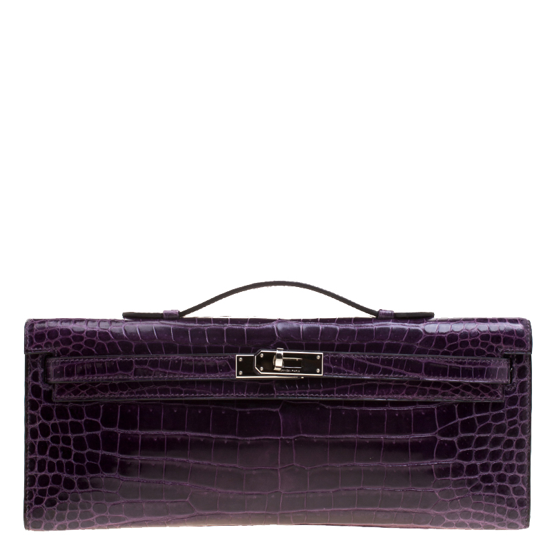 Buy Hermes Ultraviolet Porosus Crocodile Kelly Cut Clutch 129749 at ... 2e4cb0971eb64