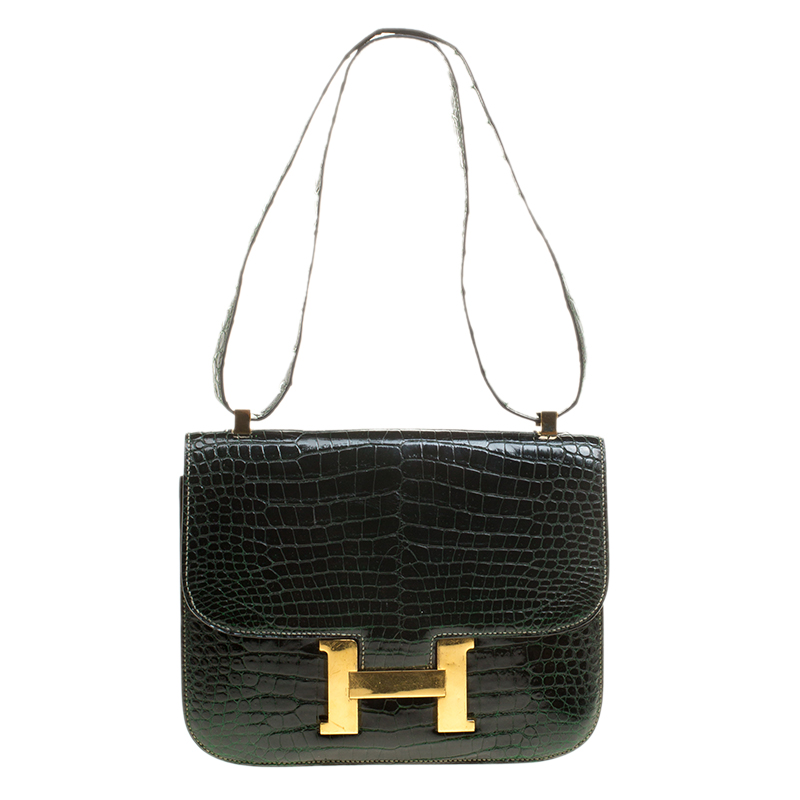 Buy Hermes Dark Green Crocodile Vintage Constance 23 Bag 134001 at ... 4be5bd92a