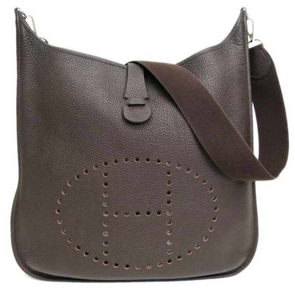 a8dc5b6d9559 ... Hermes Brown Leather Traurillon Clemence Evelyne Shoulder Bag TGM.  nextprev. prevnext