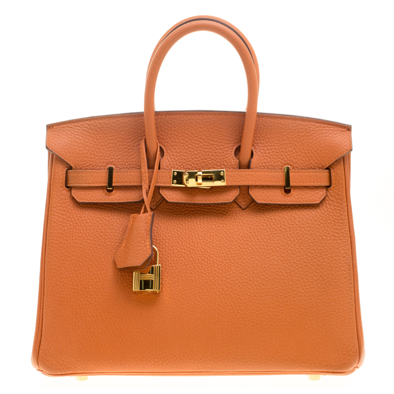 7026d710957c Buy Hermes Orange Togo Leather Gold Hardware Birkin 25 Bag 141855 at ...