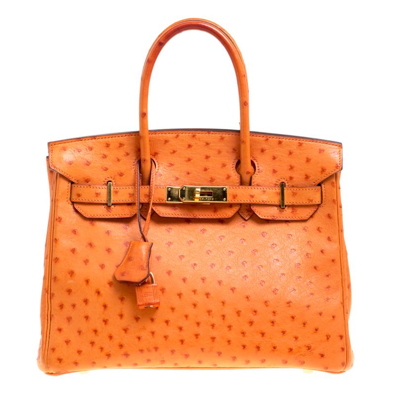 Buy Hermes Orange Ostrich Palladium Hardware Birkin 30 Bag 148756 at ... 58e4d234cf8e4