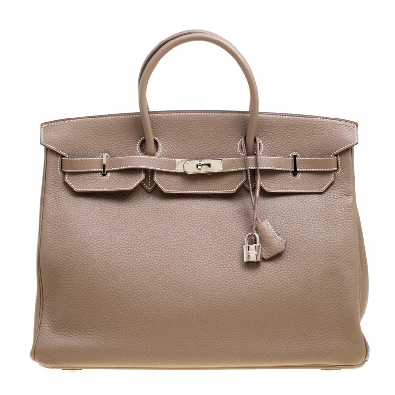 0e2c7bdd39a6 ... Hermes Etoupe Taurillon Clemence Leather Palladium Hardware Birkin 40  Bag. nextprev. prevnext