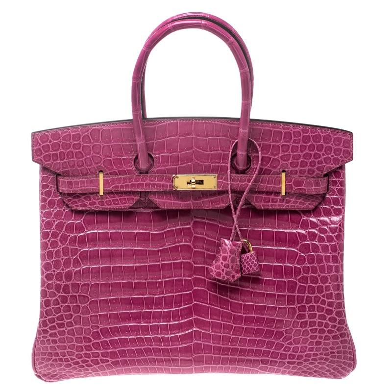 1c3a5c9a4999 Buy Hermes Fuchsia Porosus Crocodile Gold Hardware Birkin 35 Bag ...