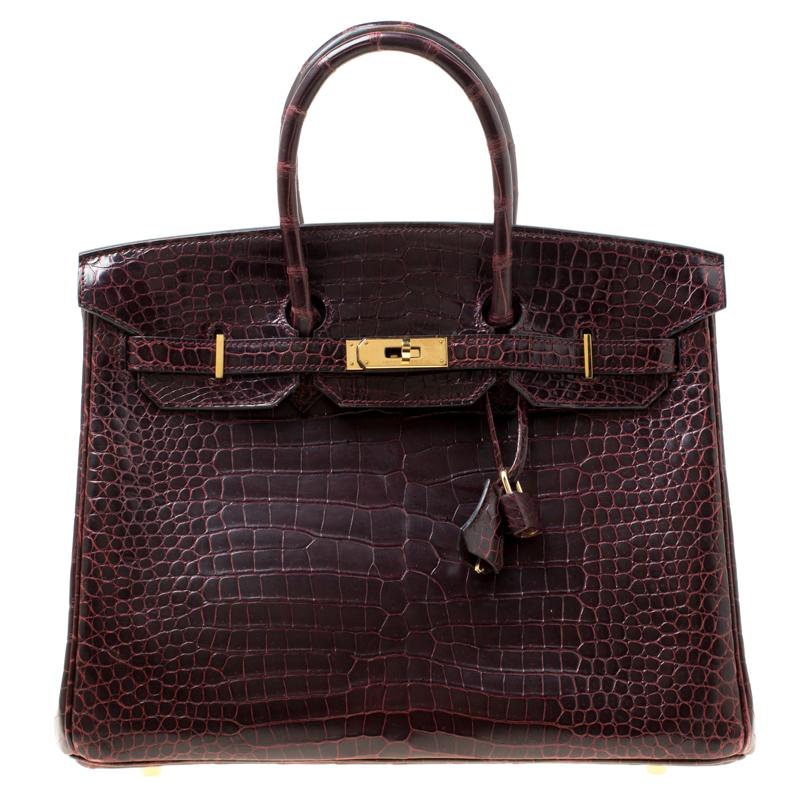 954dc060e9a Buy Hermes Prune Matte Porosus Crocodile Gold Hardware Birkin 35 Bag ...
