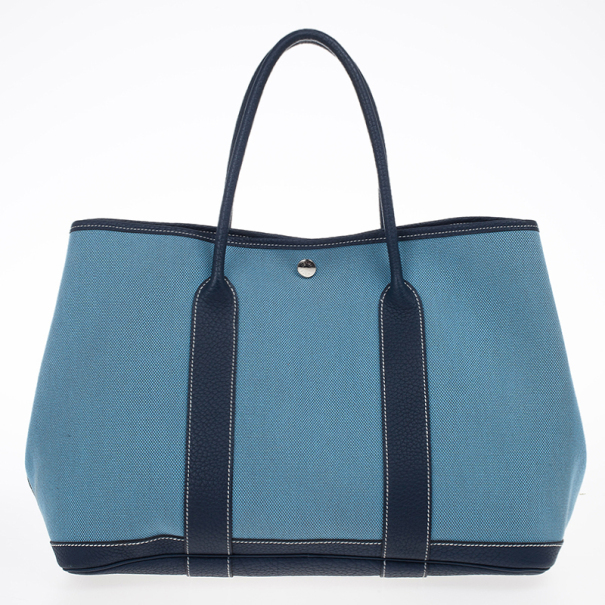 8adcb76f18c3 Buy Hermes Blue Canvas and Leather Garden Party TPM Tote Bag 17536 ...