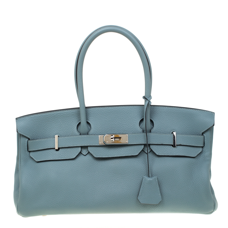 Hermes Ciel Clemence Leather Palladium Hardware Shoulder Birkin 42 Bag