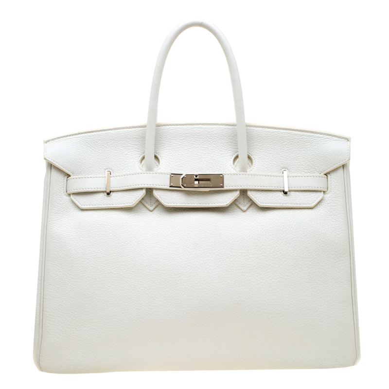 Hermes White Togo Leather Palladium Hardware Birkin 35 Bag