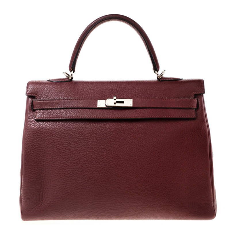 Hermes Bordeaux Togo Leather Palladium Hardware Kelly Retourne 35 Bag