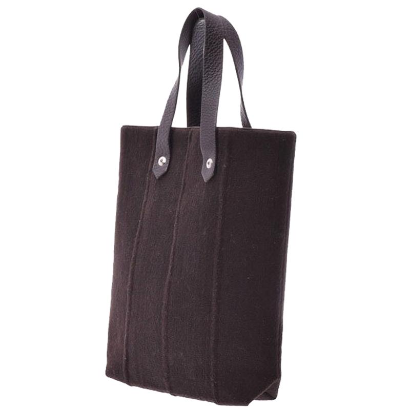 Hermes Chocolate Felt Leather Tote Bag PM, Brown