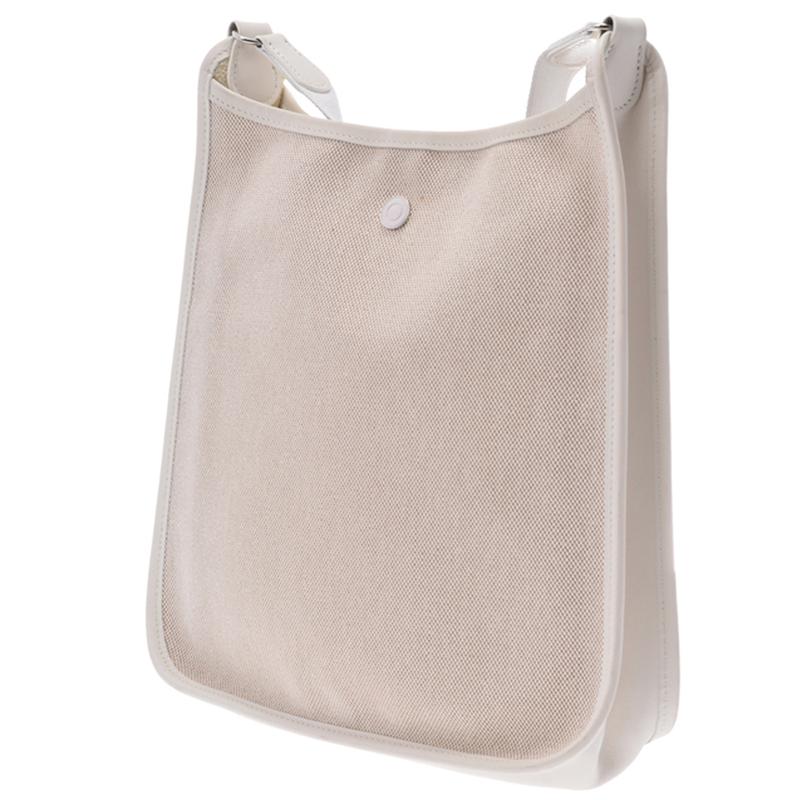 Hermes Blanco Toile de Lona Vespa PM Bag