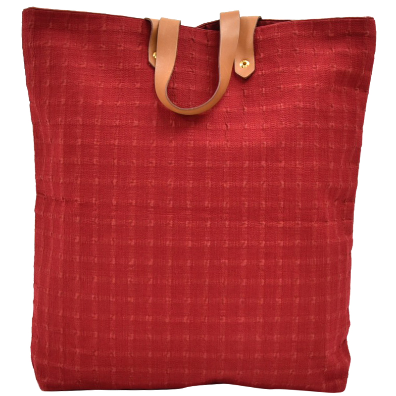 Hermes Red Cotton Canvas Tote Bag
