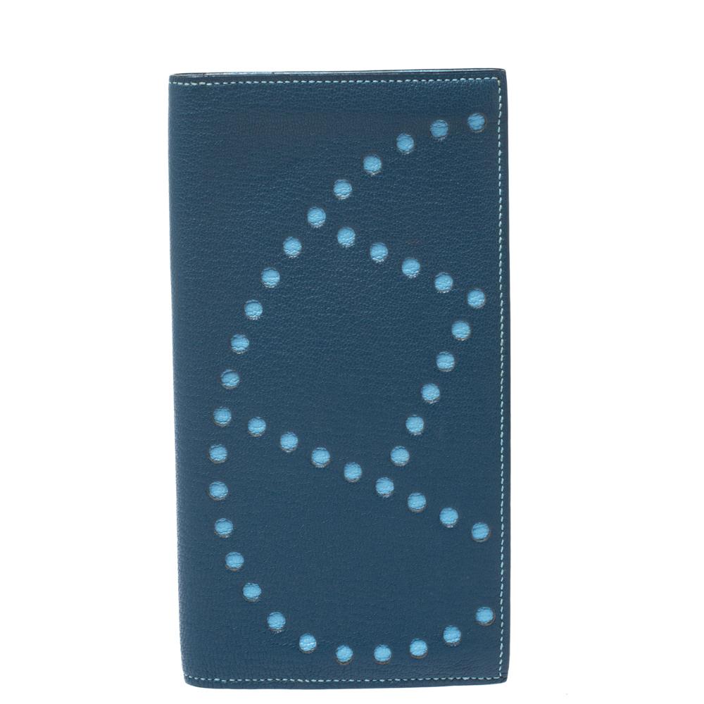 Hermes Blue Jeans Chevre Leather Evelyne Long Wallet