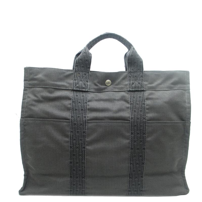Hermes Grey Canvas Her Line Tote Bag