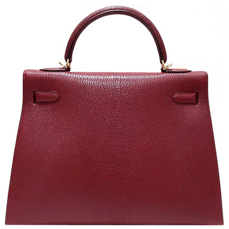 Hermes Red Chevre Leather Gold Hardware Kelly 32 Bag