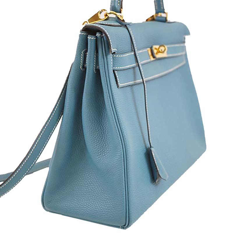 Hermes Blue Jeane Togo Leather Gold Hardware Kelly 32 Bag