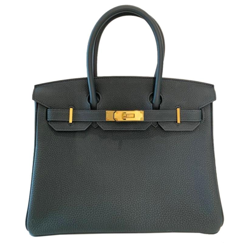 Hermes Vert Rousseau Togo Leather Gold Hardware Birkin 30 Bag