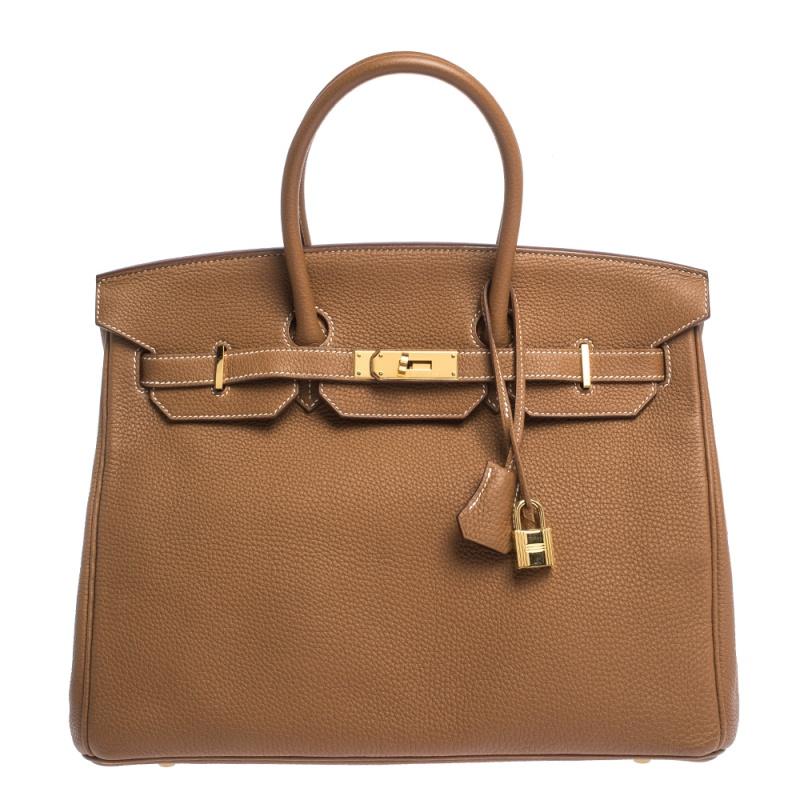 Hermes Gold Togo Leather Gold Hardware Birkin 35 Bag