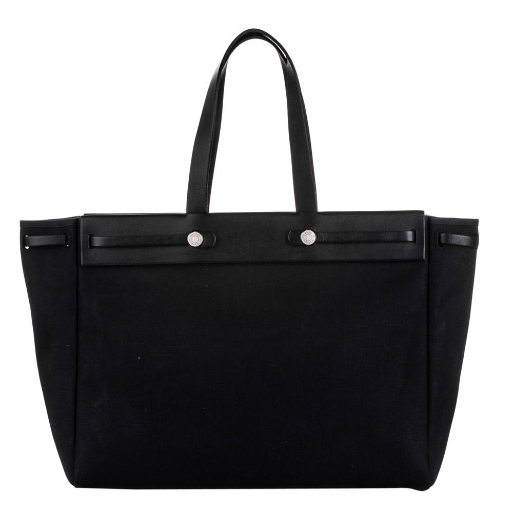 Pre-owned Hermes Black Canvas Herbag Mm Shoulder Bag