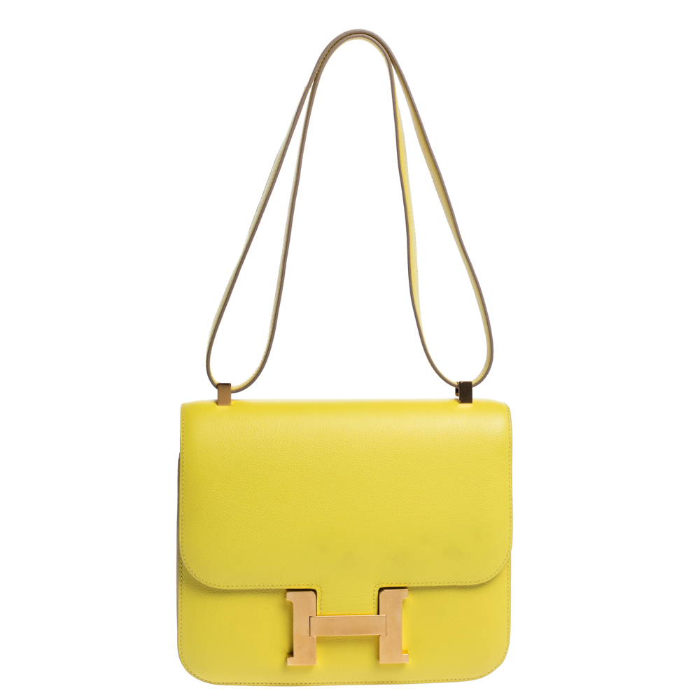 Pre-owned Hermes Lime Evercolor Leather Constance 24 Bag In Yellow