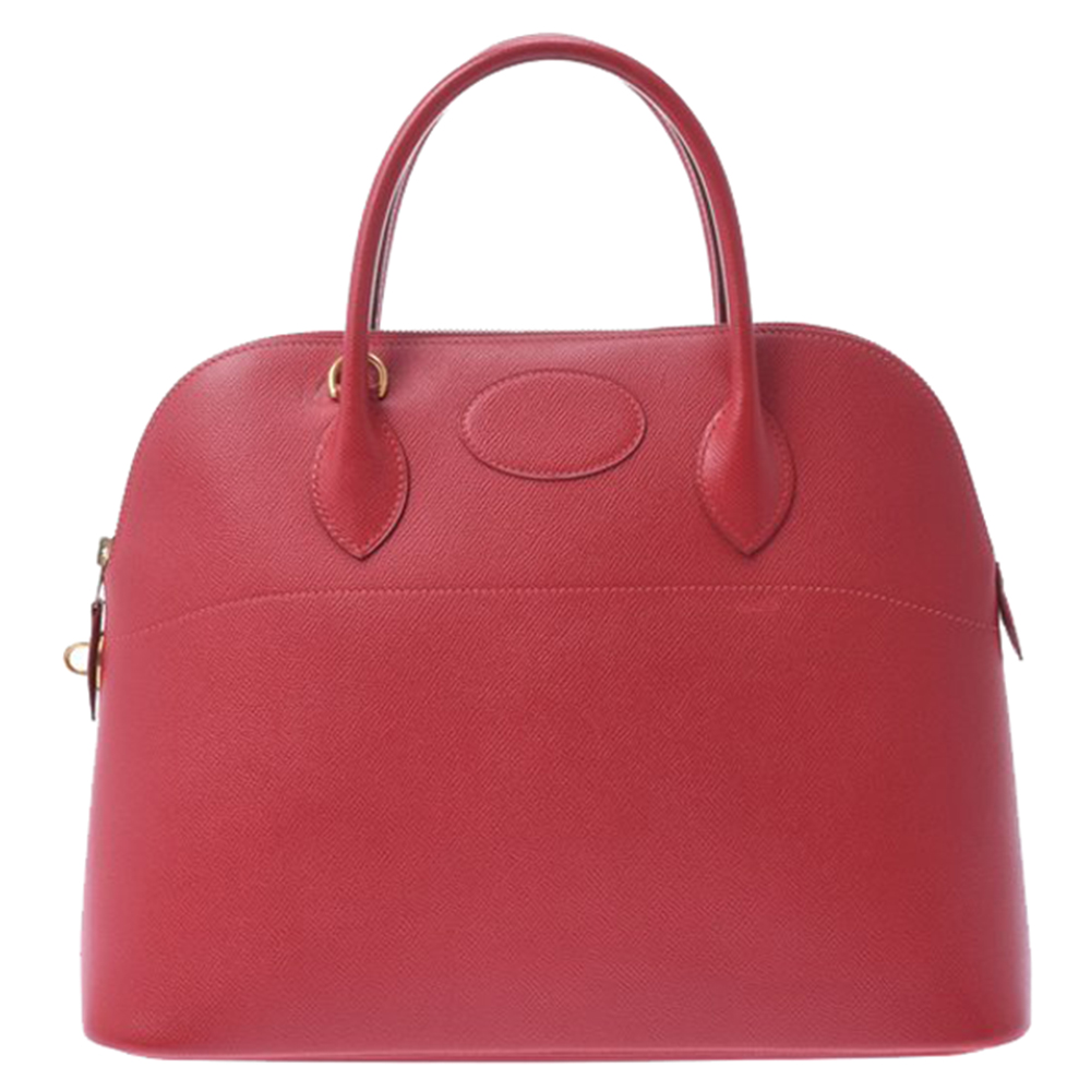 Pre-owned Hermes Red Courchevel Leather Bolide 35 Bag