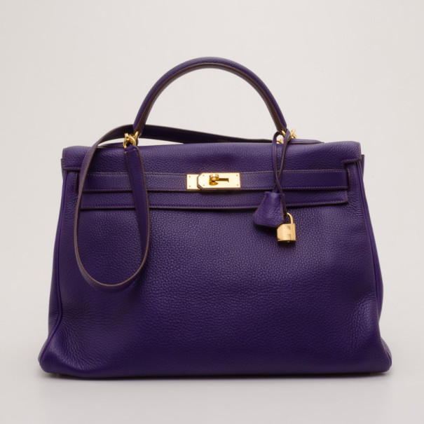 Hermes Iris Togo Leather Gold Hardware Kelly Retourne 40 Bag