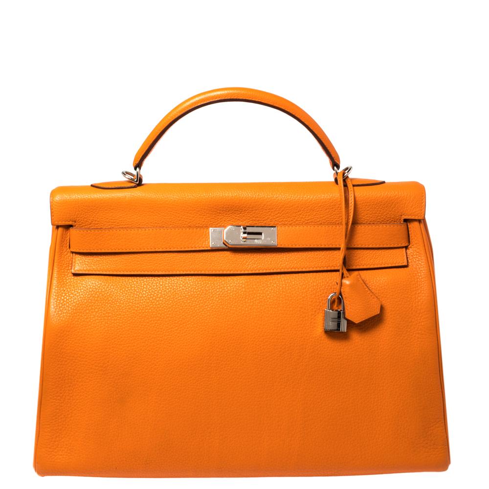 Pre-owned Hermes Orange Clemence Leather Palladium Hardware Kelly Retourne 40 Bag