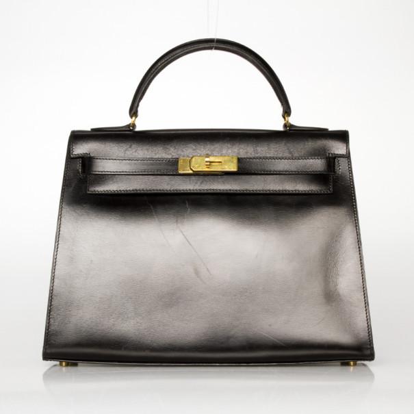 945dd2ad8828 ... Hermes Black Box Calf Leather Kelly Sellier 32 CM. nextprev. prevnext