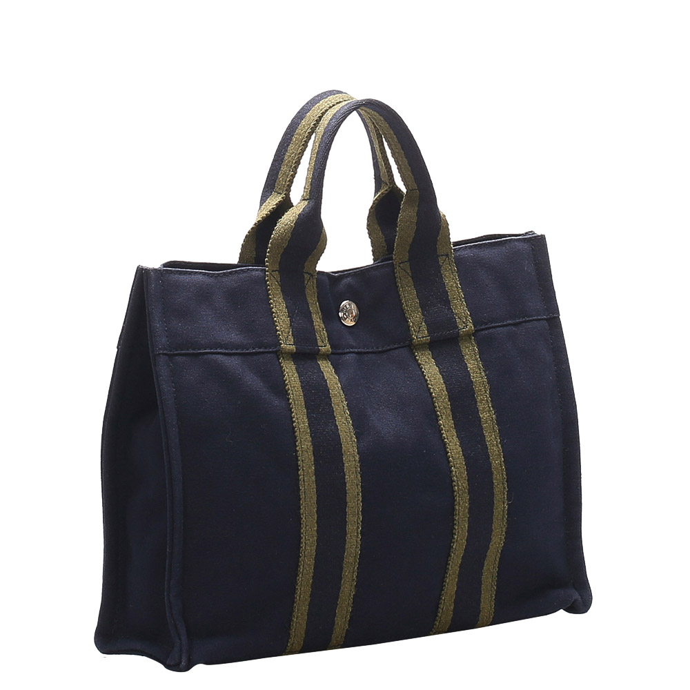 Hermes Blue Canvas Fourre Tout PM Bag