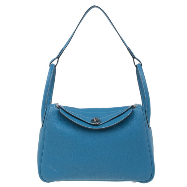Buy Hermes Blue Clemence Leather Lindy Bag 30 4096 at best price  0b12dc614b437