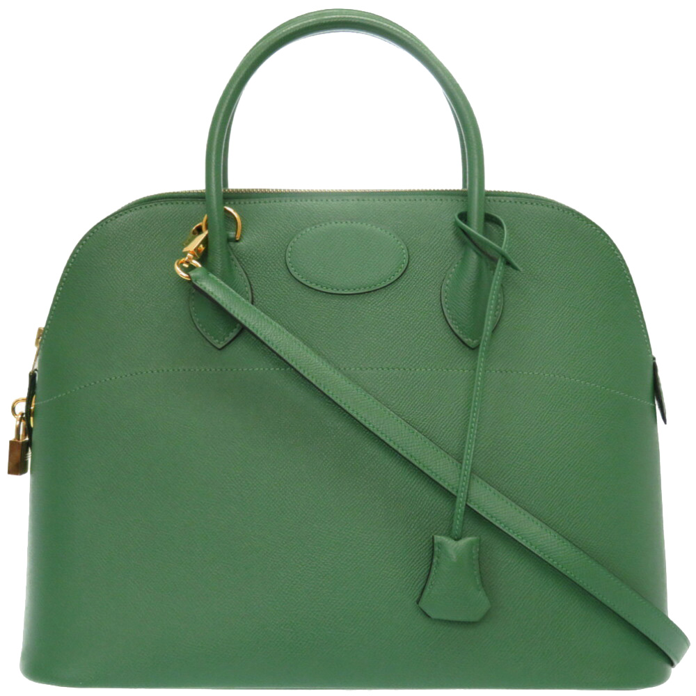 Pre-owned Hermes Green Courchevel Leather Bolide 37 Bag