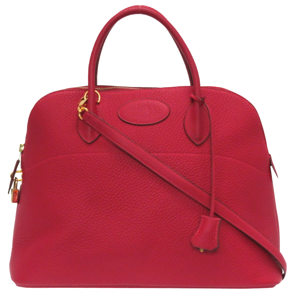 Pre-owned Hermes Rouge Leather Bolide 37 Bag In Red