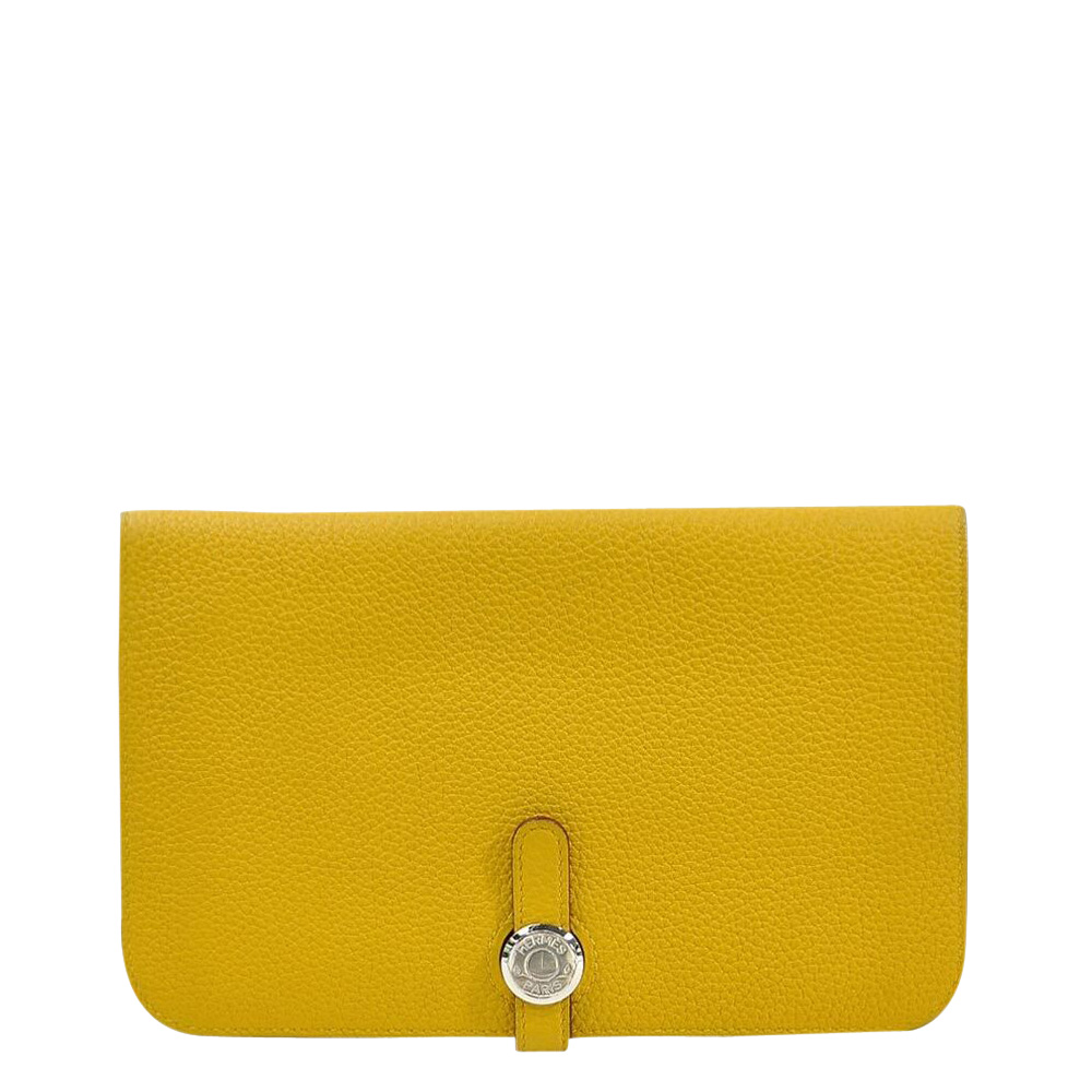 Pre-owned Hermes Yellow Leather Dogon Wallet