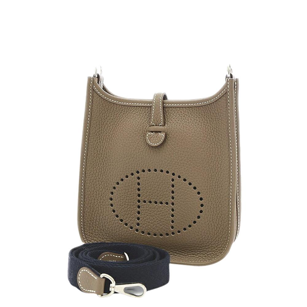 Pre-owned Hermes Grey Clemence Leather Evelyne Tpm Shoulder Bag